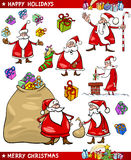 Cartoon Set of Santa Christmas Themes Stock Photography