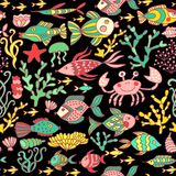Cartoon set with sea live, vector set. Colorful sea animals, sea world seamless pattern, under water world wallpaper with fish, oc Royalty Free Stock Images