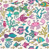 Cartoon set with sea live, vector set. Colorful sea animals, sea world seamless pattern, under water world wallpaper with fish, oc. Topus and vegetation Royalty Free Stock Photo