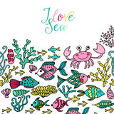 Cartoon set with sea live, vector set. Colorful sea animals, sea Stock Photos