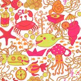 Cartoon set with sea live, vector set. Copy that square to the s Stock Images