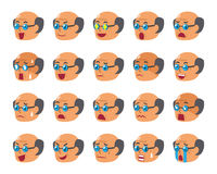 Cartoon set of senior man faces showing different emotions. For design Royalty Free Stock Images