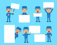 Cartoon set of technician with blank white banner Royalty Free Stock Photos
