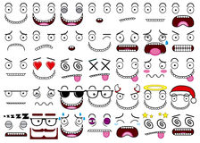 A Cartoon Set Of Thirty-five Different Faces Royalty Free Stock Photography