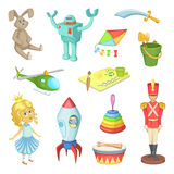 Cartoon set of toys for kids boys and girls. Funny vector icons Royalty Free Stock Photography