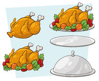 Cartoon set of tray and chicken. A vector illustration set of cartoon tray and chicken Stock Photo
