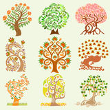 Cartoon set tree Stock Images