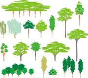 Cartoon set of trees silhouettes Royalty Free Stock Photography