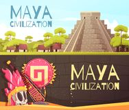 Maya Cartoon Banners Set. Cartoon set of two horizontal banners with maya civilization pyramid and accessories isolated vector illustration stock illustration