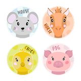 Cartoon set Vector Animals farm face,four objects mouse, pig, horse, chick. stock illustration