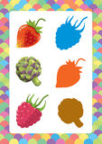 Cartoon set of vegetables - searching game with shadows Royalty Free Stock Photography