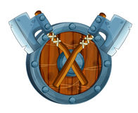 Cartoon set of weapon and armor elements / crossed axes on a shield. Beautiful and colorful illustration for the children - for different usage - for fairy tales Royalty Free Stock Photography