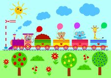 Free Cartoon Set With Different Animals On Train Stock Photography - 138798852