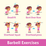 Cartoon set of a woman doing barbell exercise step for health Royalty Free Stock Photo