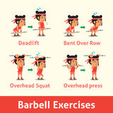 Cartoon set of woman doing barbell exercise step for health Stock Images