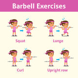 Cartoon set of a woman doing barbell exercise step for health and fitness Royalty Free Stock Photography