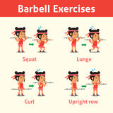 Cartoon set of woman doing barbell exercise step for health and fitness Stock Photo