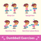 Cartoon set of a woman doing dumbbell exercise step for health and fitness Royalty Free Stock Photos