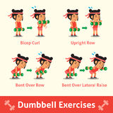 Cartoon set of woman doing dumbbell exercise step for health and fitness Stock Photos