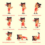 Cartoon set of woman doing exercises for health. For design Stock Image