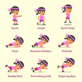 Cartoon set of woman doing exercises for health and fitness. For design Stock Images
