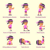 Cartoon set of woman doing exercises for health and fitness. For design Royalty Free Stock Photo