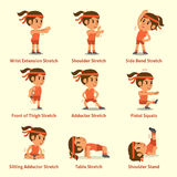 Cartoon set of a woman doing exercises for health and fitness. For design Royalty Free Stock Photos