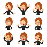Cartoon set of woman faces showing different emotions. For design Royalty Free Stock Photo