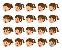 Cartoon set of a woman faces showing different emotions. For design Stock Photo