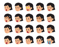 Cartoon set of woman faces showing different emotions. For design Stock Image