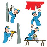 Cartoon set of workman doing different DIY chores. Including painting,drilling,woodwork etc Stock Image
