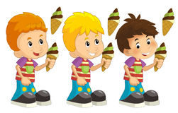 Cartoon set of young boys with ice cream Royalty Free Stock Images