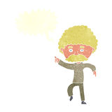 cartoon seventies style man disco dancing with speech bubble Royalty Free Stock Images