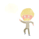 cartoon seventies style man disco dancing with thought bubble Stock Images
