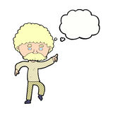cartoon seventies style man disco dancing with thought bubble Royalty Free Stock Photo