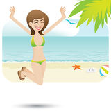 Cartoon sexy girl on the beach Royalty Free Stock Photography
