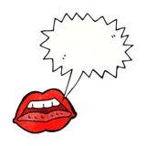 Cartoon sexy lips symbol with speech bubble Stock Photos