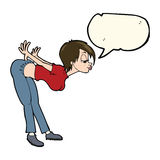 Cartoon sexy woman with speech bubble Royalty Free Stock Image