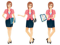 Cartoon sexy young business woman or secretary in various poses. Vector illustration Stock Images