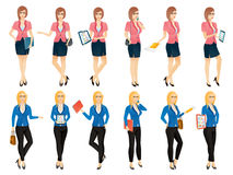 Cartoon sexy young business woman or secretary in various poses. Vector illustration set Royalty Free Stock Image