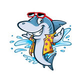 Cartoon Shark Beach. Cartoon shark with beachwear and sunglasses smiling welcome Royalty Free Stock Image