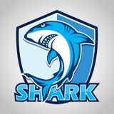 Cartoon shark with blue shield on gray background. Illustration of Cartoon shark with blue shield on gray background Royalty Free Stock Images