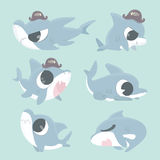 Cartoon shark collection set. Cartoon shark collection set on blue background Stock Images