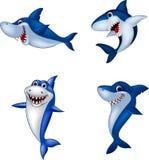 Cartoon shark collection set isolated on white background. Illustration of Cartoon shark collection set isolated on white background Royalty Free Stock Photography