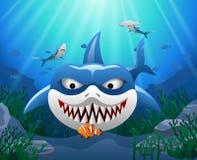 Cartoon shark attack clown fish. Cartoon shark with Coral Reef Underwater in Ocean Royalty Free Stock Images