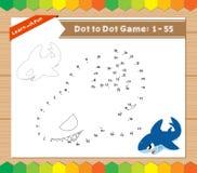 Cartoon Shark. Dot to dot educational game for kids Stock Image