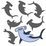 Cartoon shark. Find the right shadow image. Educational games for kids. Hammerhead vector. rCartoon shark Royalty Free Stock Image