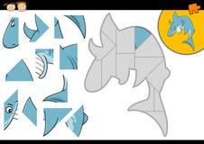 Cartoon shark jigsaw puzzle game. Cartoon Illustration of Education Jigsaw Puzzle Game for Preschool Children with Funny Shark Fish Animal Character Stock Photography
