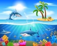Cartoon shark jumping in blue ocean. Background.  illustration Stock Photography