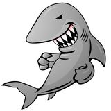 Cartoon Shark Vector Illustration. Cartoon shark jumping out of water, big sharp teeth, funny but serious grin, ready to strike, full color vector graphic Royalty Free Stock Images